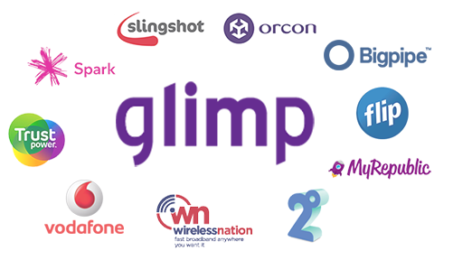 Glimp logo with broadband provider logos